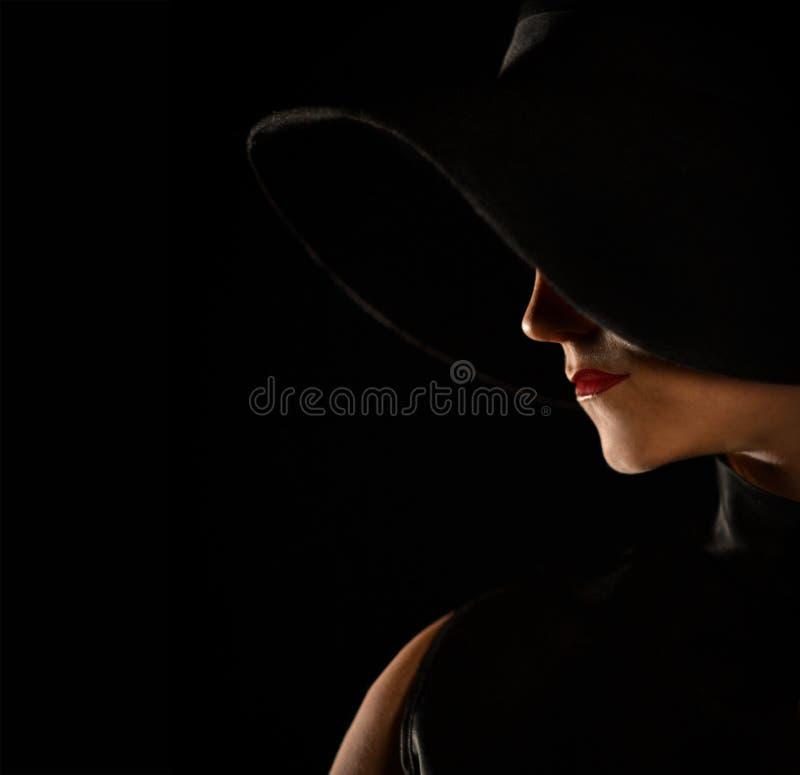 Tiro de moda del perfil hermoso, silueta con un topo foto de archivo libre de regalías