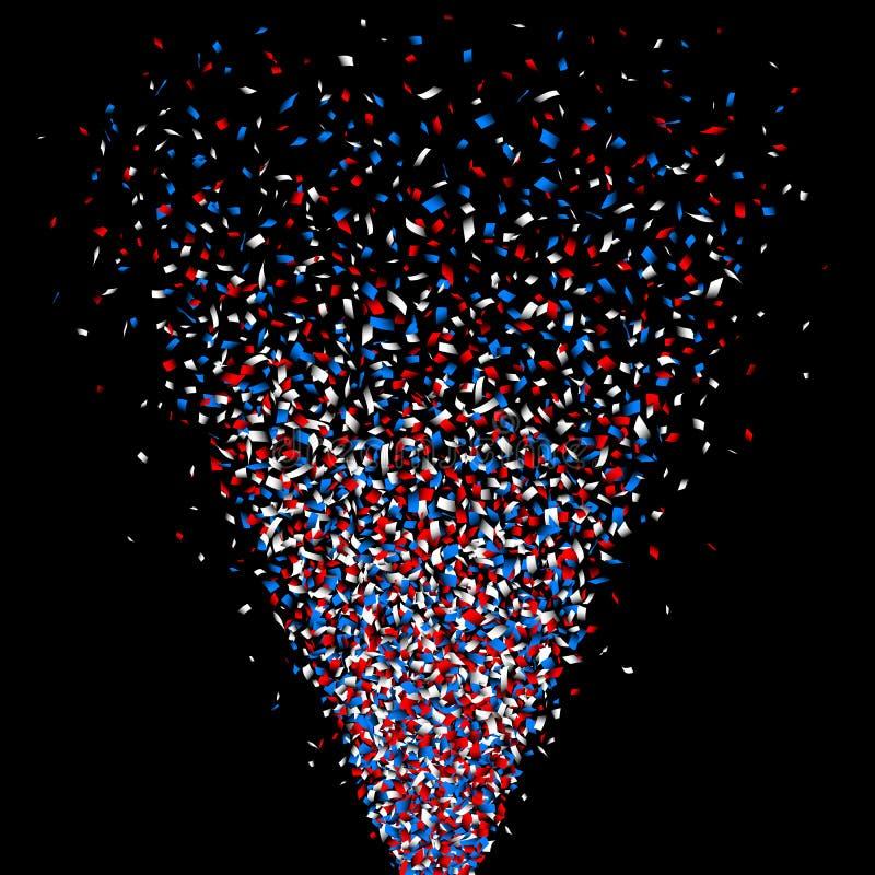 Tiro de Reb, azul e branco dos confetes do canhão ilustração stock