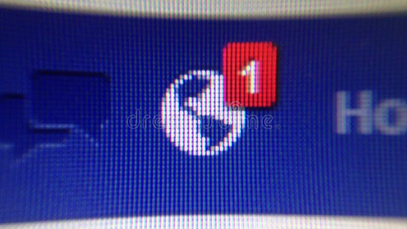 Tiro de tela da notificação de Facebook imagens de stock royalty free
