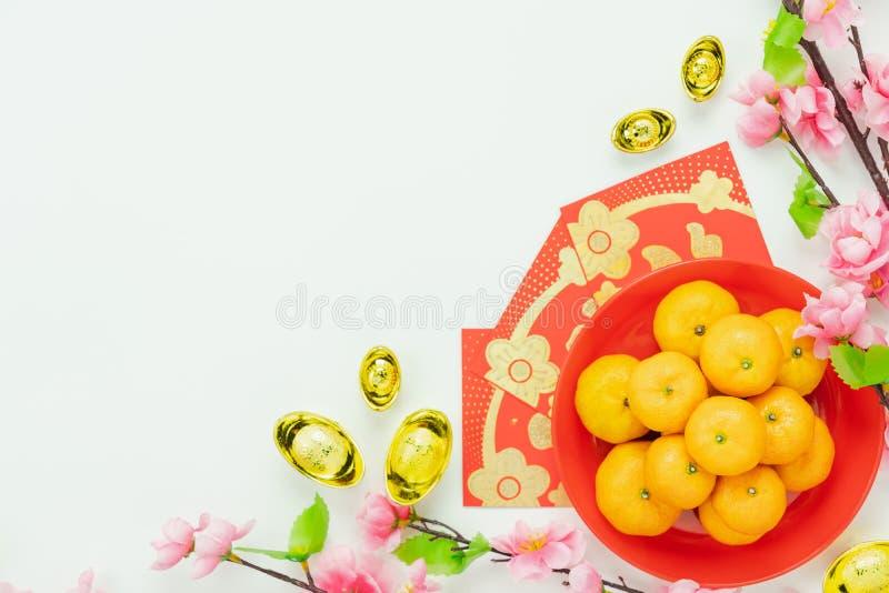 Tiro del Año Nuevo chino de la decoración del arreglo y del concepto lunar del fondo del día de fiesta del Año Nuevo imágenes de archivo libres de regalías