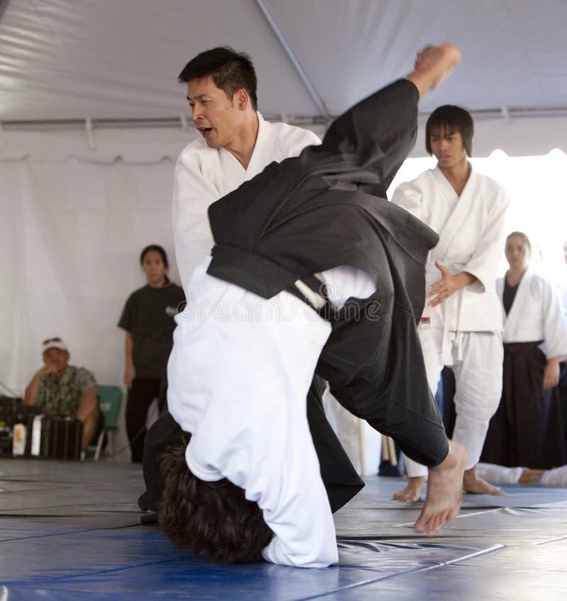 Tiro del Aikido fotografía de archivo libre de regalías