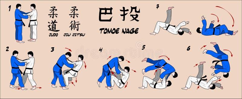 Tiro del círculo del judo ilustración del vector