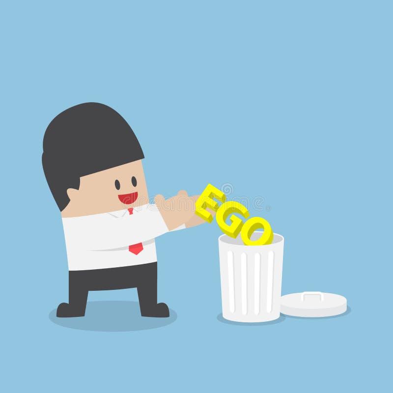 Tiro del hombre de negocios su ego en la basura libre illustration