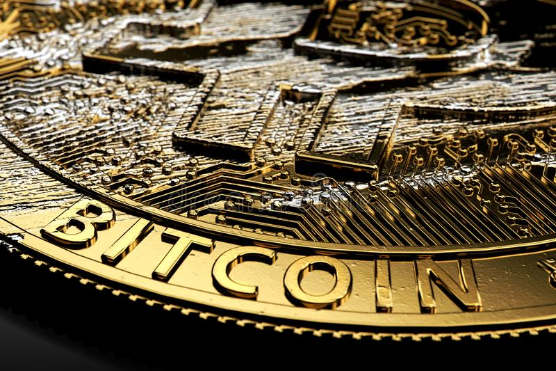 Tiro del primer en Bitcoin dañado que pone en fondo oscuro Concepto del desplome de Bitcoin representación 3d ilustración del vector