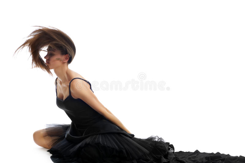 Tiro dinámico de un bailarín de ballet de sexo femenino imagenes de archivo