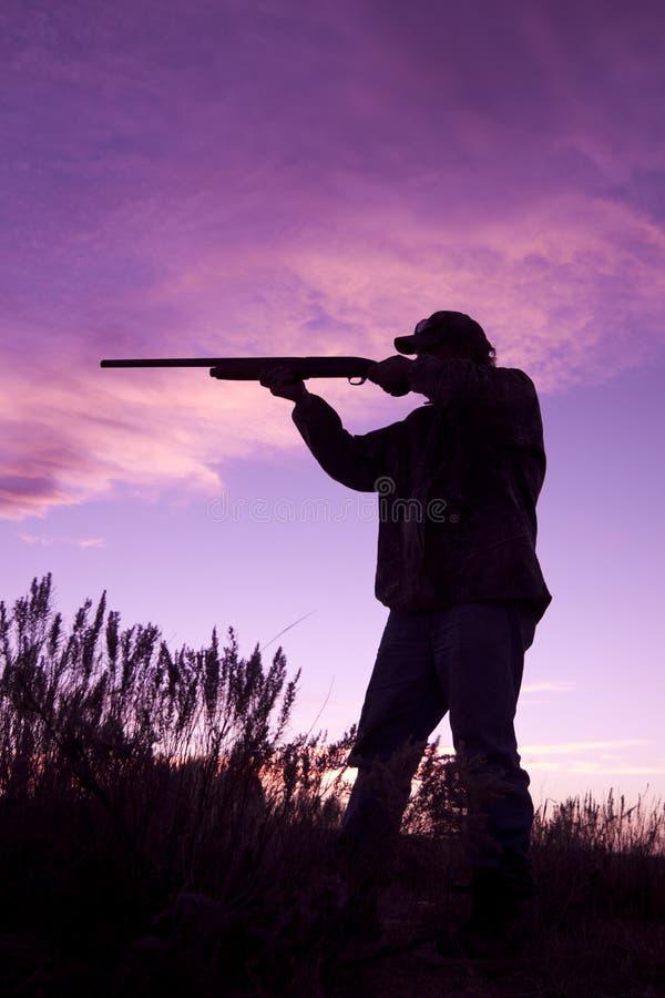 Tiro do caçador no por do sol imagem de stock royalty free