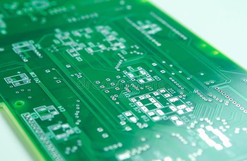 Tiro do close up da placa de circuito impresso nova antes montagem do Componentry de SMD e de MERGULHO imagem de stock royalty free