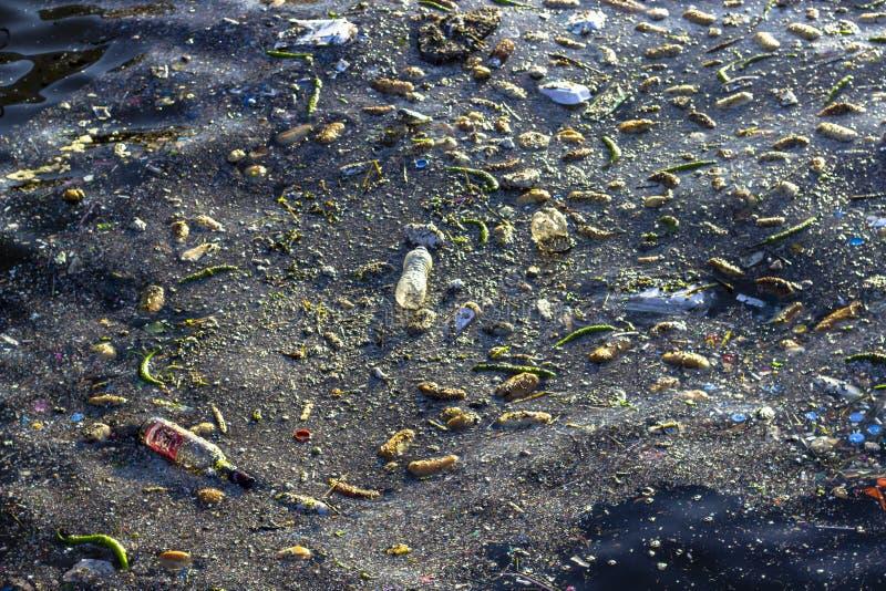 Tiro do close-up da poluição no mar escuro fotos de stock royalty free