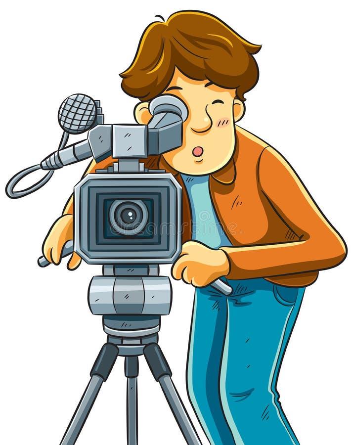 Tiro do operador cinematográfico o cinema com câmera de filme ilustração royalty free