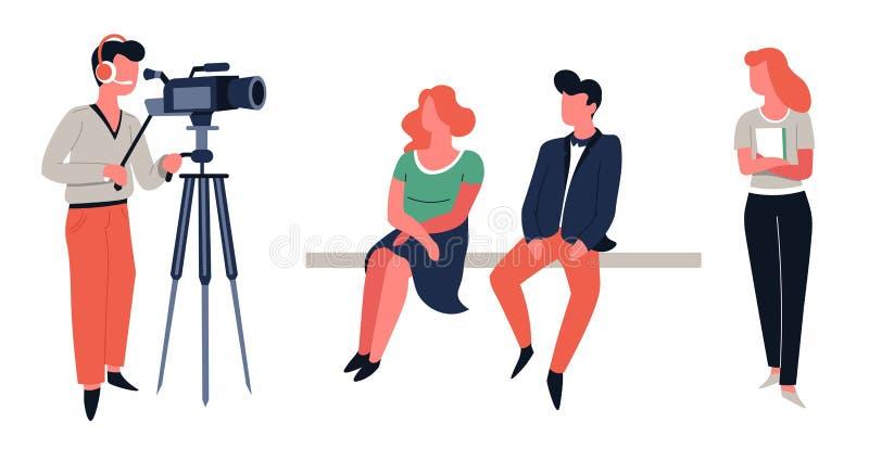 Tiro do programa televisivo ou filmar anfitriões e operador cinematográfico da mostra ilustração do vetor