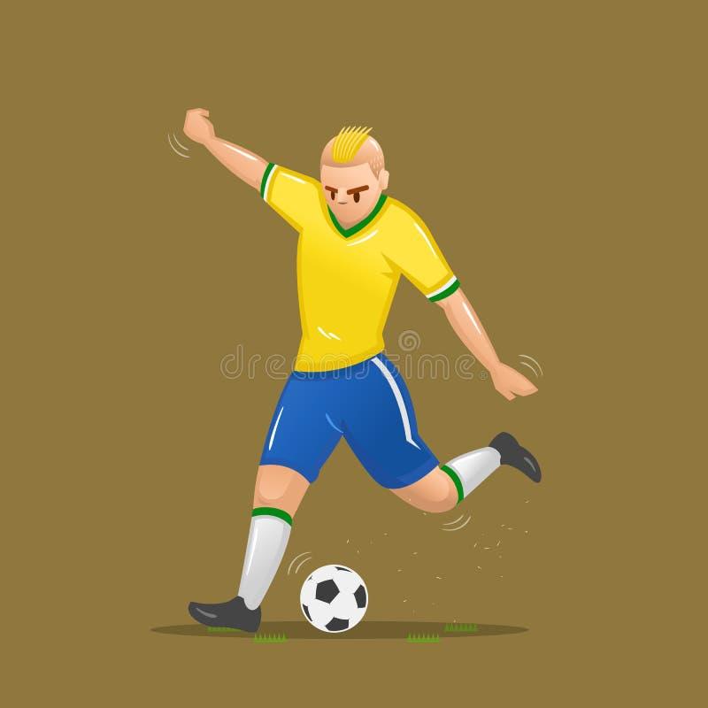 Tiro dos desenhos animados do futebol ilustração stock
