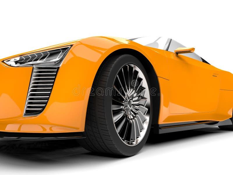 Tiro extremo automotriz del primer de la rueda delantera de los deportes estupendos convertibles modernos del amarillo de cadmio stock de ilustración