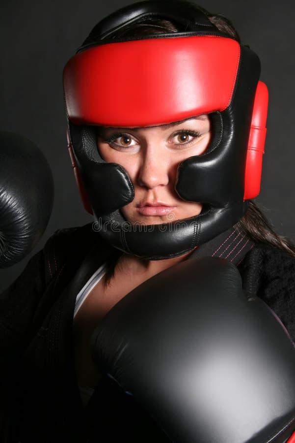 Tiro femenino de la pista del boxeador foto de archivo