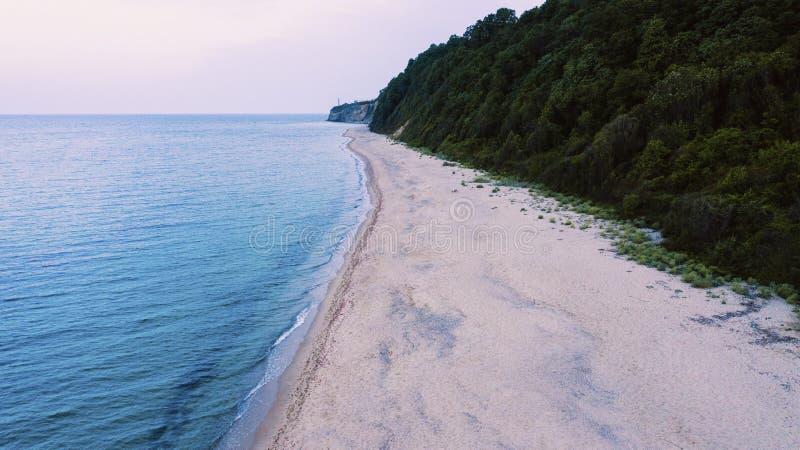 Tiro hermoso de una orilla de la playa cerca de una montaña boscosa foto de archivo