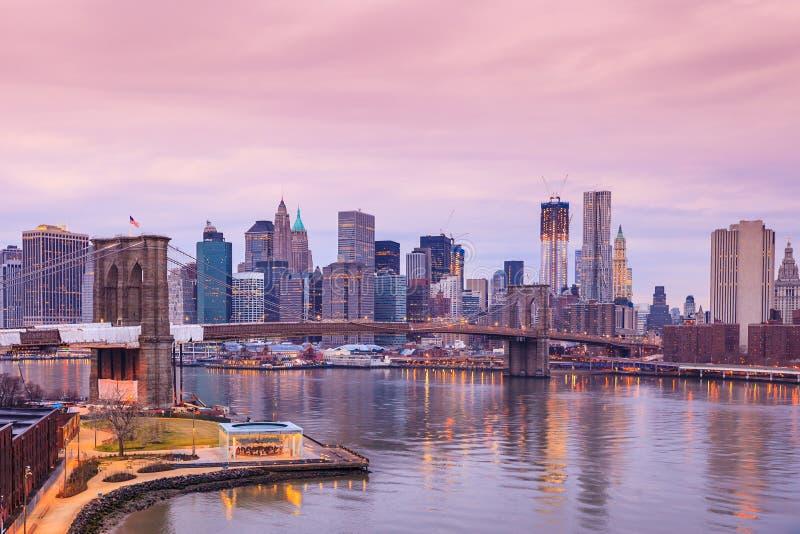 Tiro hermoso del puente de Brooklyn imagen de archivo