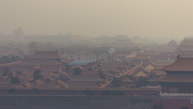 Tiro horizontal do ângulo alto e largo da Cidade Proibida em Bei fotografia de stock