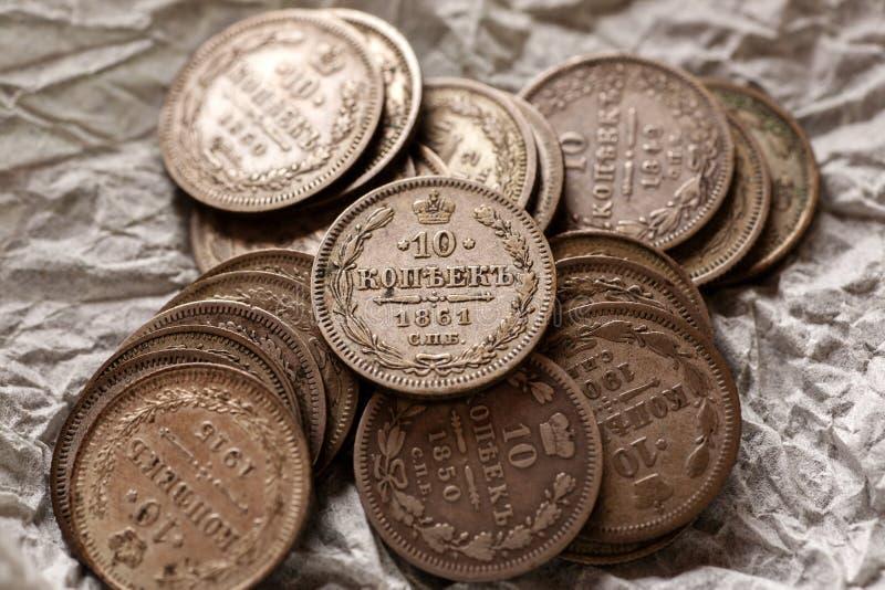 Tiro imperial do macro do close-up das moedas de prata do russo imagens de stock royalty free