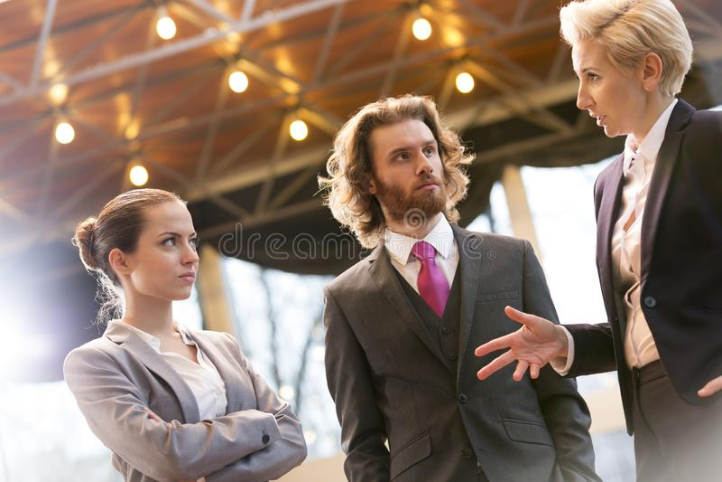 Tiro inclinable de la empresaria madura que discute con los colegas mientras que se coloca en la oficina fotografía de archivo libre de regalías