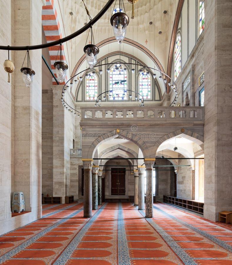 Tiro interior da mesquita de Sulaymaniye, Istambul, Turquia imagem de stock