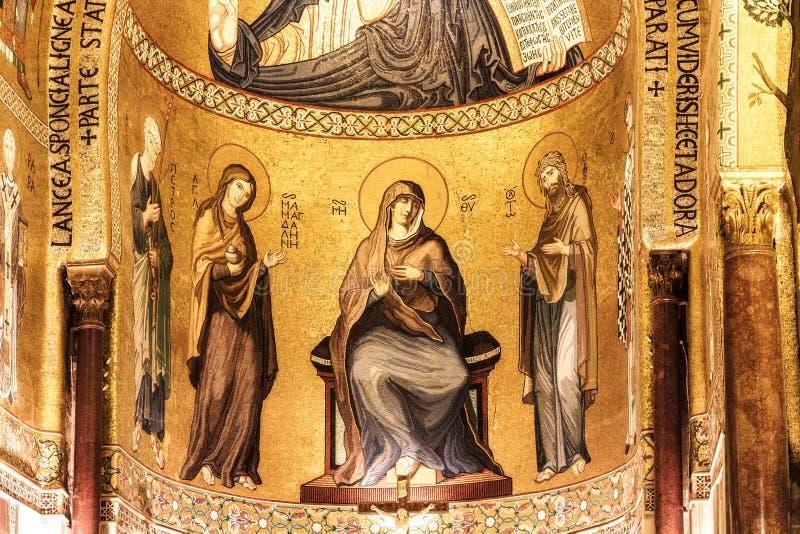 Tiro interior del Cappella famoso Palatina en Sicilia fotos de archivo libres de regalías