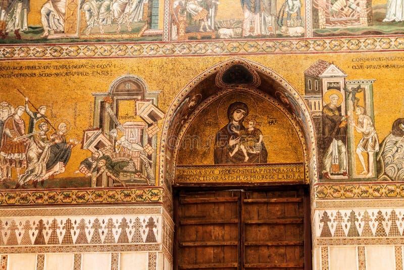 Tiro interior del Cappella famoso Palatina en Sicilia foto de archivo libre de regalías
