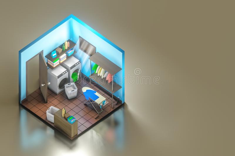 tiro isométrico da rendição 3d do design de interiores da lavandaria com a máquina de lavar com tábua de passar a ferro ilustração stock