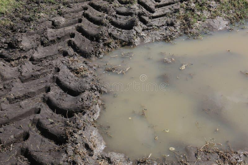 Tiro médio de trilhas do trator sobre Muddy Water imagem de stock