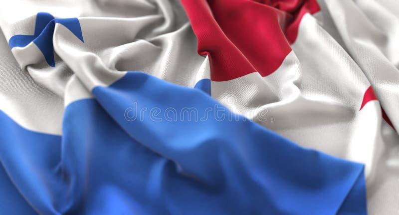 Tiro macro belamente de ondulação enrugado do close-up da bandeira de Panamá fotos de stock royalty free