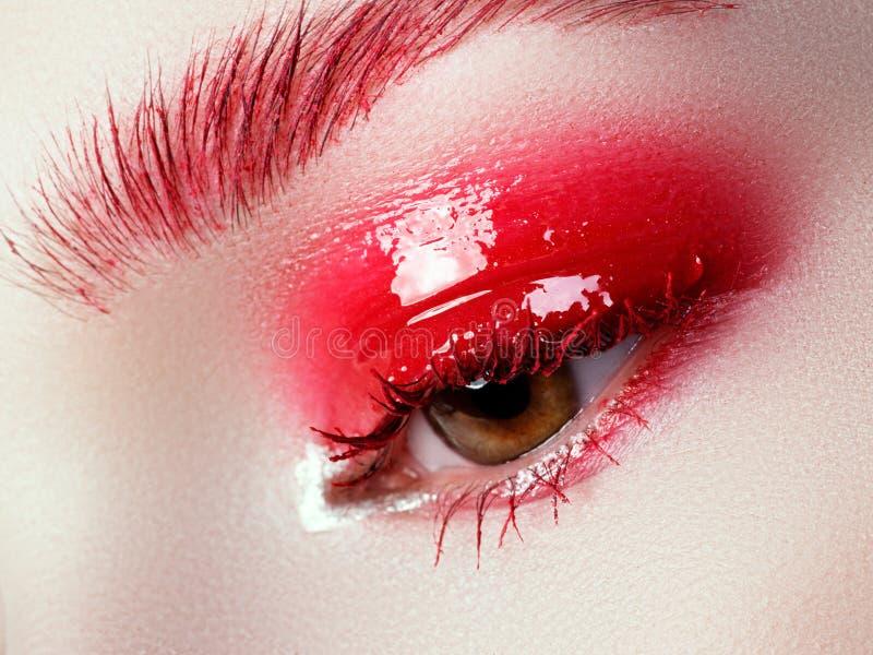 Tiro macro bonito do olho fêmea com as pestanas longas extremas fotos de stock royalty free