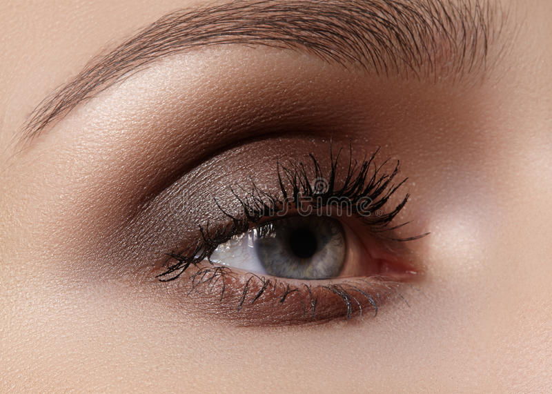 Tiro macro bonito do olho fêmea com composição fumarento Forma perfeita das sobrancelhas imagens de stock