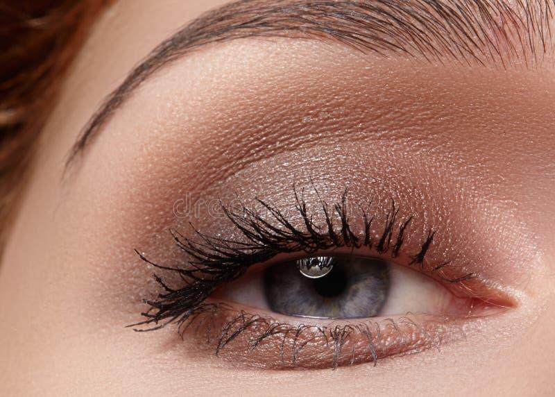 Tiro macro bonito do olho fêmea com composição fumarento Forma perfeita das sobrancelhas foto de stock royalty free