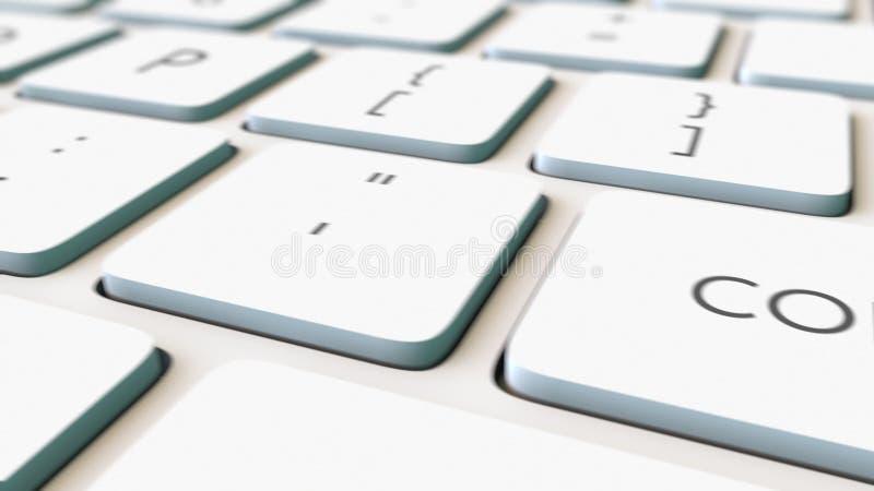 Tiro macro da zorra da chave branca do teclado e do converso de computador, foco raso Grampo 4K conceptual ilustração do vetor