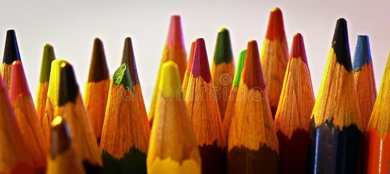 Tiro macro de lápices coloreados dispuestos fotografía de archivo