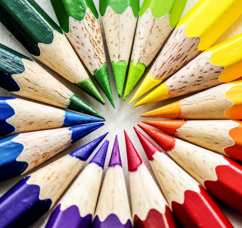 Tiro macro de los lápices del color fotografía de archivo libre de regalías
