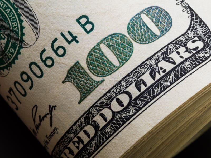 Tiro macro de uns 100 dólares Dólares do conceito do close up O americano faz foto de stock royalty free