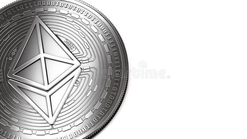 Tiro macro del espacio de plata de Ethereum y de la copia