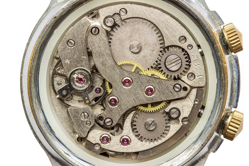 Tiro macro del mecanismo del reloj, visión superior fotografía de archivo libre de regalías