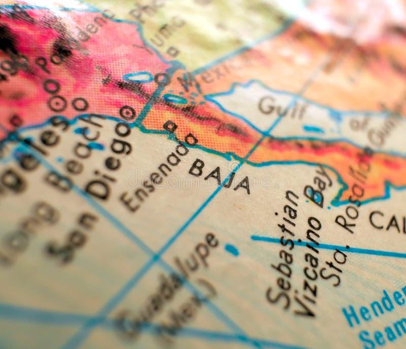 Tiro macro do foco de Baja California México no mapa do globo para blogues do curso, meios sociais, bandeiras da Web e fundos fotografia de stock