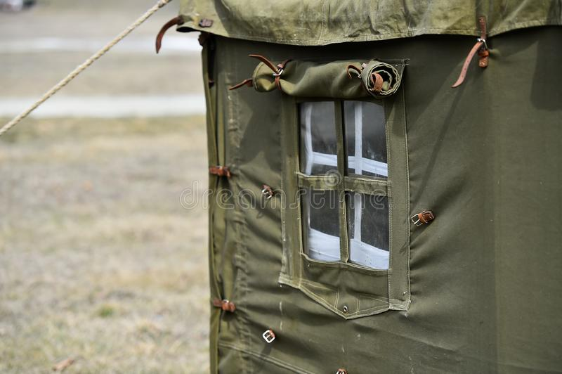 Tiro militar verde do detalhe da barraca fotos de stock royalty free