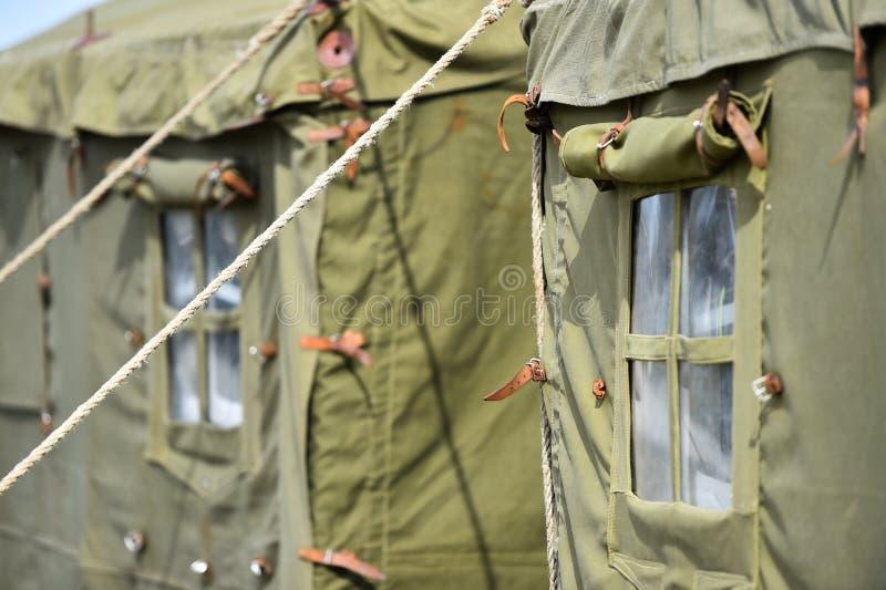 Tiro militar verde do detalhe da barraca imagem de stock royalty free