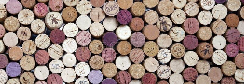 Tiro panorâmico de cortiça do vinho fotografia de stock royalty free
