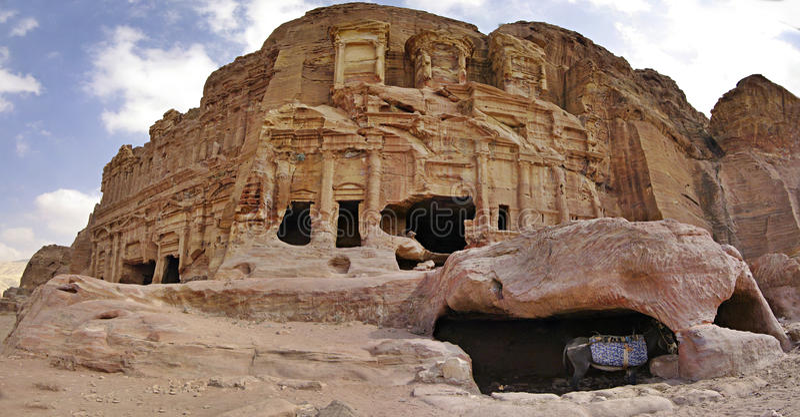Tiro panorâmico em PETRA; Jordão. fotografia de stock