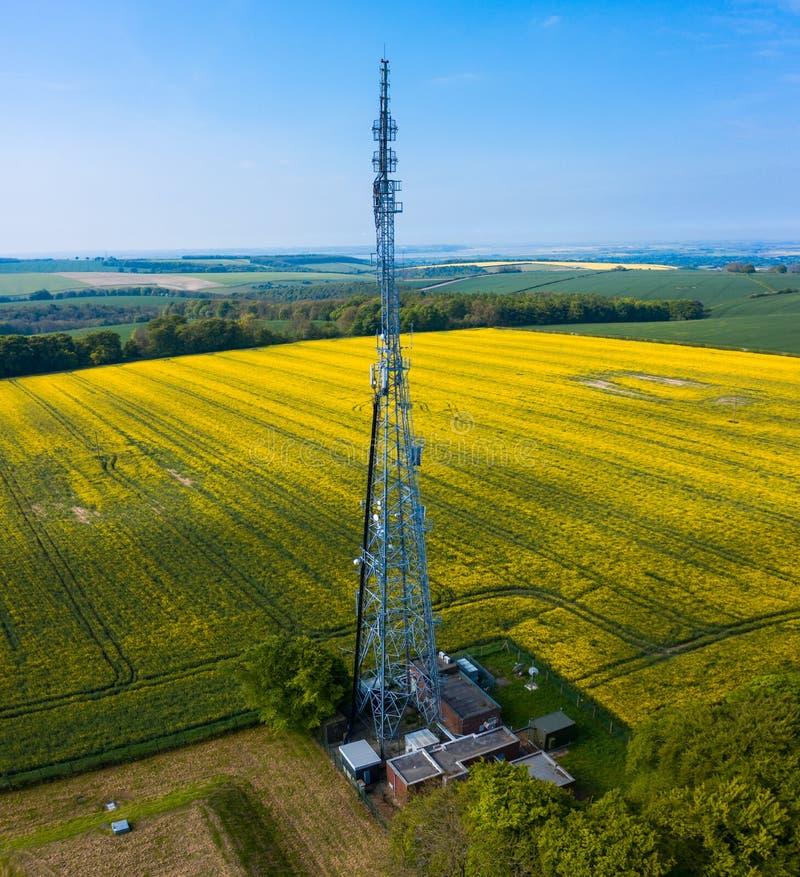 Tiro panorâmico verical aéreo do mastro alto do rádio de Hunsley imagens de stock royalty free