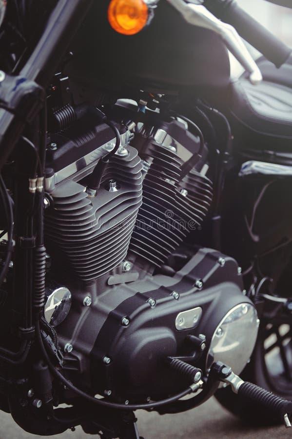 Tiro poderoso da arte da motocicleta do motor preto à moda bonito no calendário imagem de stock