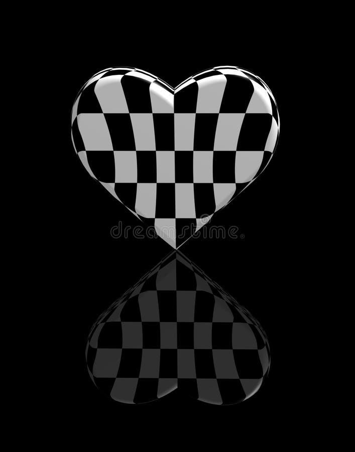 Tiro preto e branco da xadrez 3d do coração ilustração royalty free