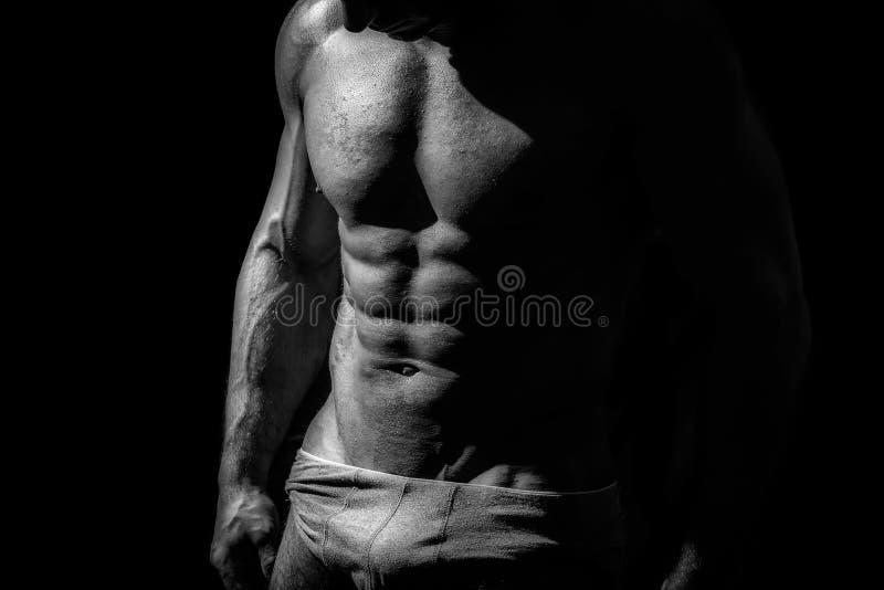 Tiro preto e branco do estúdio do homem atlético forte fotos de stock royalty free