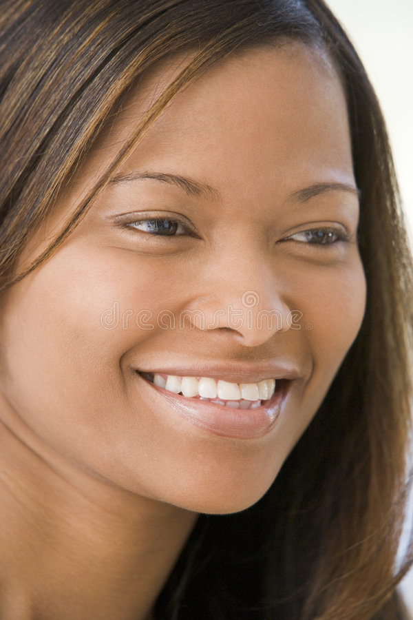 Tiro principal de la sonrisa de la mujer fotos de archivo