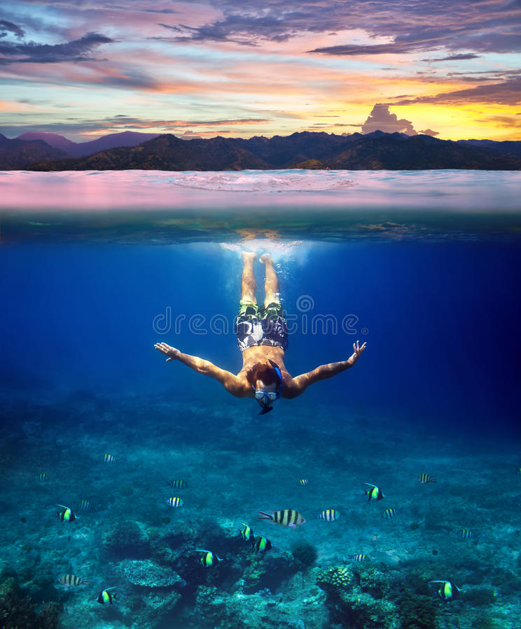 Tiro subaquático de um homem novo que mergulha em um mar tropical e foto de stock royalty free