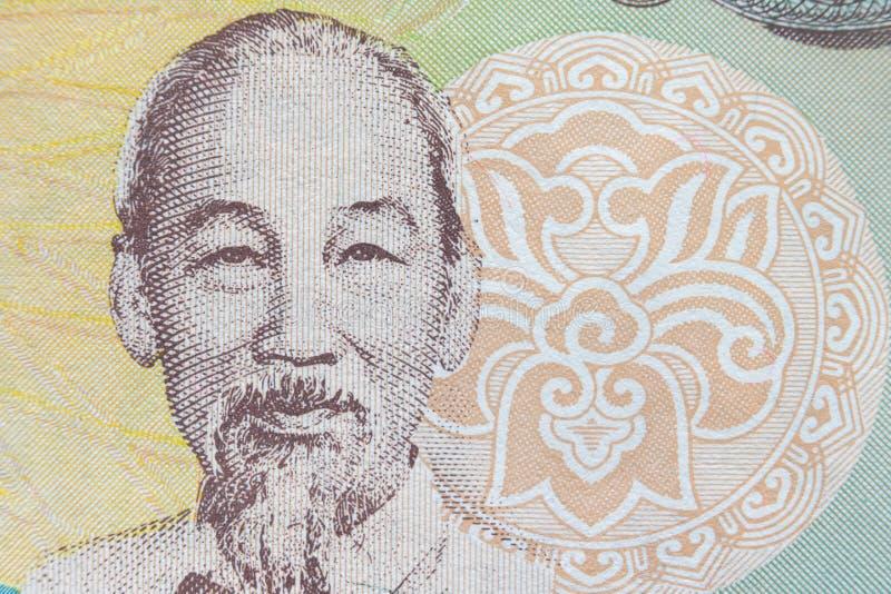 Tiro ultra macro del retrato de Ho Chi Minh del billete de banco vietnamita del dinero fotos de archivo libres de regalías