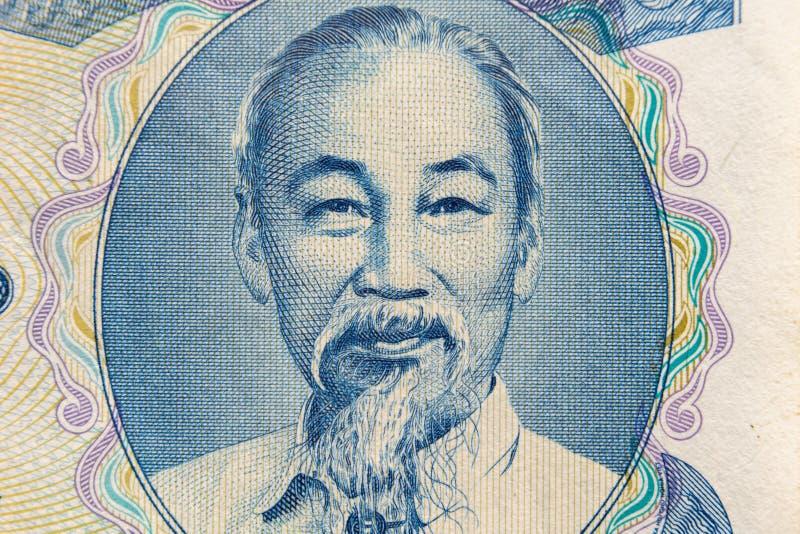 Tiro ultra macro del retrato de Ho Chi Minh del billete de banco vietnamita del dinero fotografía de archivo